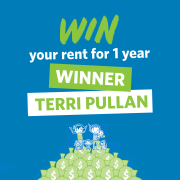 Congratulations to our Lucky March/April Win Your Rent Winner